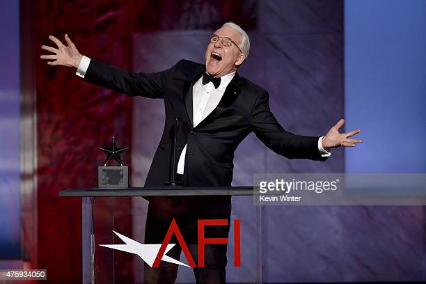Honoree Steve Martin accepts the AFI Life Achievement Award onstage during the 2015 AFI Life Achievement Award Gala Tribute Honoring Steve Martin at...