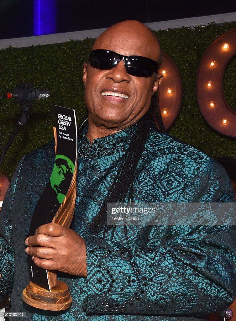 Honoree Stevie Wonder accepts the Global Green Hero Award onstage during Global Green USA's 13th annual preOscar party at Mr C Beverly Hills on...