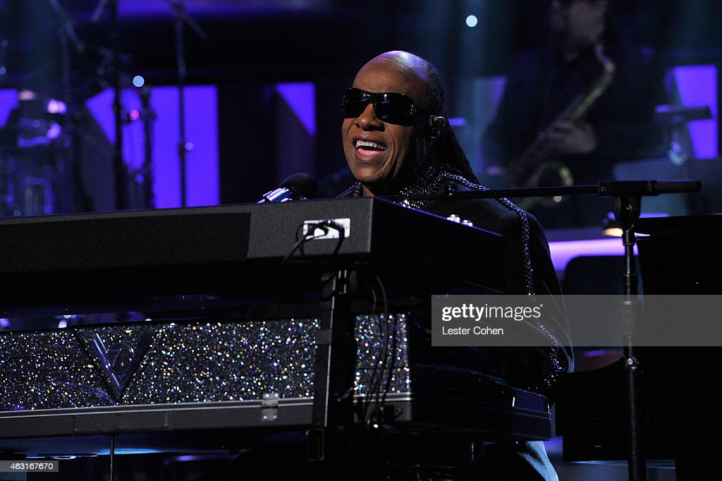 Honoree Stevie Wonder performs onstage during Stevie Wonder: Songs In The Key Of Life - An All-Star GRAMMY Salute at Nokia Theatre L.A. Live on February 10, 2015 in Los Angeles, California.