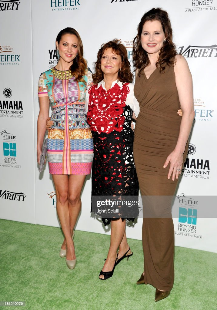 Honoree <a gi-track='captionPersonalityLinkClicked' href=/galleries/search?phrase=Susan+Sarandon&family=editorial&specificpeople=202474 ng-click='$event.stopPropagation()'>Susan Sarandon</a> (C), actresses <a gi-track='captionPersonalityLinkClicked' href=/galleries/search?phrase=Eva+Amurri&family=editorial&specificpeople=213733 ng-click='$event.stopPropagation()'>Eva Amurri</a> (L) and <a gi-track='captionPersonalityLinkClicked' href=/galleries/search?phrase=Geena+Davis&family=editorial&specificpeople=209423 ng-click='$event.stopPropagation()'>Geena Davis</a> (R) attend Heifer International's 2nd Annual 'Beyond Hunger: A Place at the Table' to Help End World Hunger and Poverty at Montage Hotel on September 19, 2013 in Los Angeles, California.