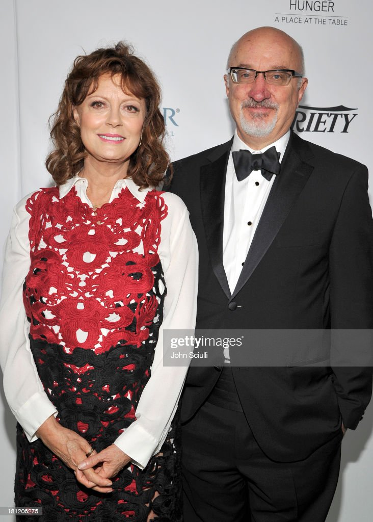 Honoree <a gi-track='captionPersonalityLinkClicked' href=/galleries/search?phrase=Susan+Sarandon&family=editorial&specificpeople=202474 ng-click='$event.stopPropagation()'>Susan Sarandon</a> (L) and CEO of Heifer International Pierre Ferrari attend Heifer International's 2nd Annual 'Beyond Hunger: A Place at the Table' to Help End World Hunger and Poverty at Montage Hotel on September 19, 2013 in Los Angeles, California.