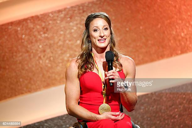 Honoree Tatyana McFadden speaks onstage during the Marie Claire Young Women's Honors presented by Clinique at Marina del Rey Marriott on November 19...