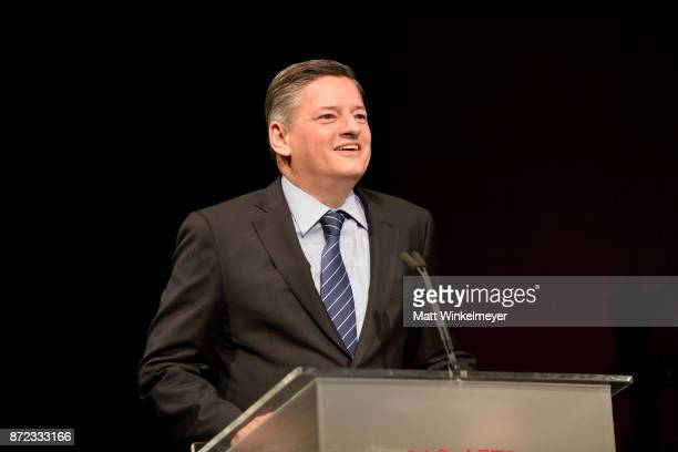 Honoree Ted Sarandos accepts Patron of the Artists Award onstage at the SAGAFTRA Foundation Patron of the Artists Awards 2017 at the Wallis Annenberg...