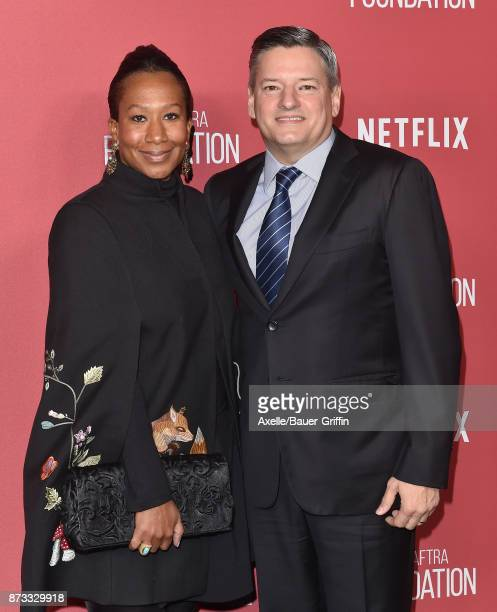 Honoree Ted Sarandos and Nicole Avant arrive at SAGAFTRA Foundation Patron of the Artists Awards 2017 on November 9 2017 in Beverly Hills California