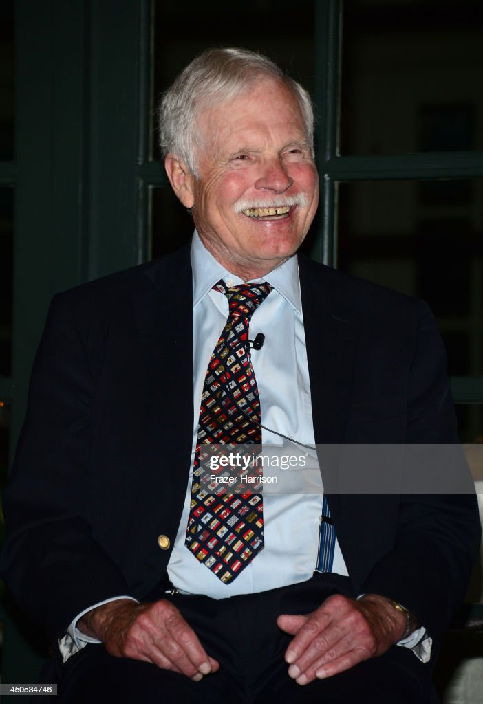 Honoree <a gi-track='captionPersonalityLinkClicked' href=/galleries/search?phrase=Ted+Turner+-+Businessman&family=editorial&specificpeople=203000 ng-click='$event.stopPropagation()'>Ted Turner</a> smiles during the Film Independent Humanitarian Award tribute to <a gi-track='captionPersonalityLinkClicked' href=/galleries/search?phrase=Ted+Turner+-+Businessman&family=editorial&specificpeople=203000 ng-click='$event.stopPropagation()'>Ted Turner</a> in partnership with UCLA Burkle Global Impact Initiative on June 12, 2014 at the home of Ron Burkle in Beverly Hills, California.