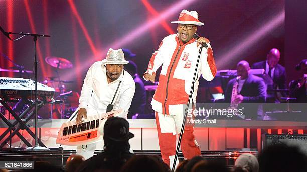 Honoree Teddy Riley and singer Bobby Brown perform onstage during the 2016 Soul Train Music Awards at the Orleans Arena on November 6 2016 in Las...