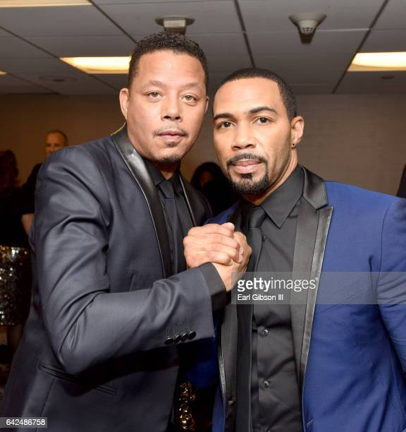 Honoree Terrence Howard and actor Omari Hardwick attend BET Presents the American Black Film Festival Honors on February 17 2017 in Beverly Hills...