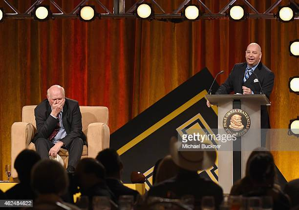 Honoree Terry Bradshaw and comedian Jeffrey Ross onstage at the Friars Club Roast of Terry Bradshaw during the ESPN Super Bowl Roast at the Arizona...