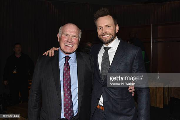 Honoree Terry Bradshaw and host Joel McHale attend the Friars Club Roast of Terry Bradshaw during the ESPN Super Bowl Roast at the Arizona Biltmore...