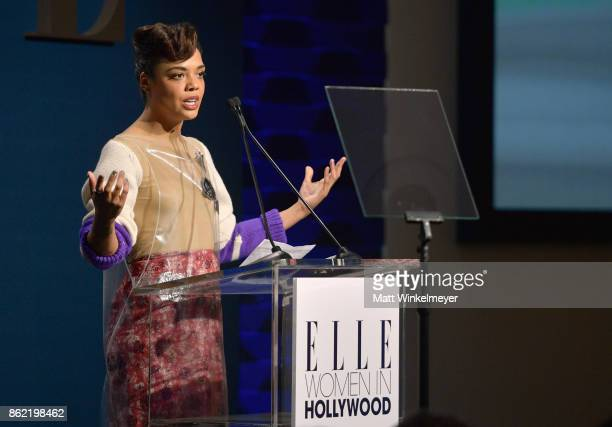 Honoree Tessa Thompson accepts award onstage at ELLE's 24th Annual Women in Hollywood Celebration presented by L'Oreal Paris Real Is Rare Real Is A...