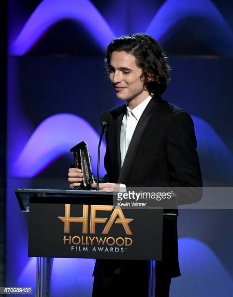 Honoree Timothee Chalamet accepts the Hollywood Breakout Performance Actor Award for 'Call Me By Your Name' onstage during the 21st Annual Hollywood...