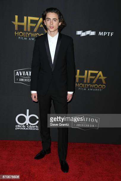 Honoree Timothee Chalamet attends the 21st Annual Hollywood Film Awards at The Beverly Hilton Hotel on November 5 2017 in Beverly Hills California