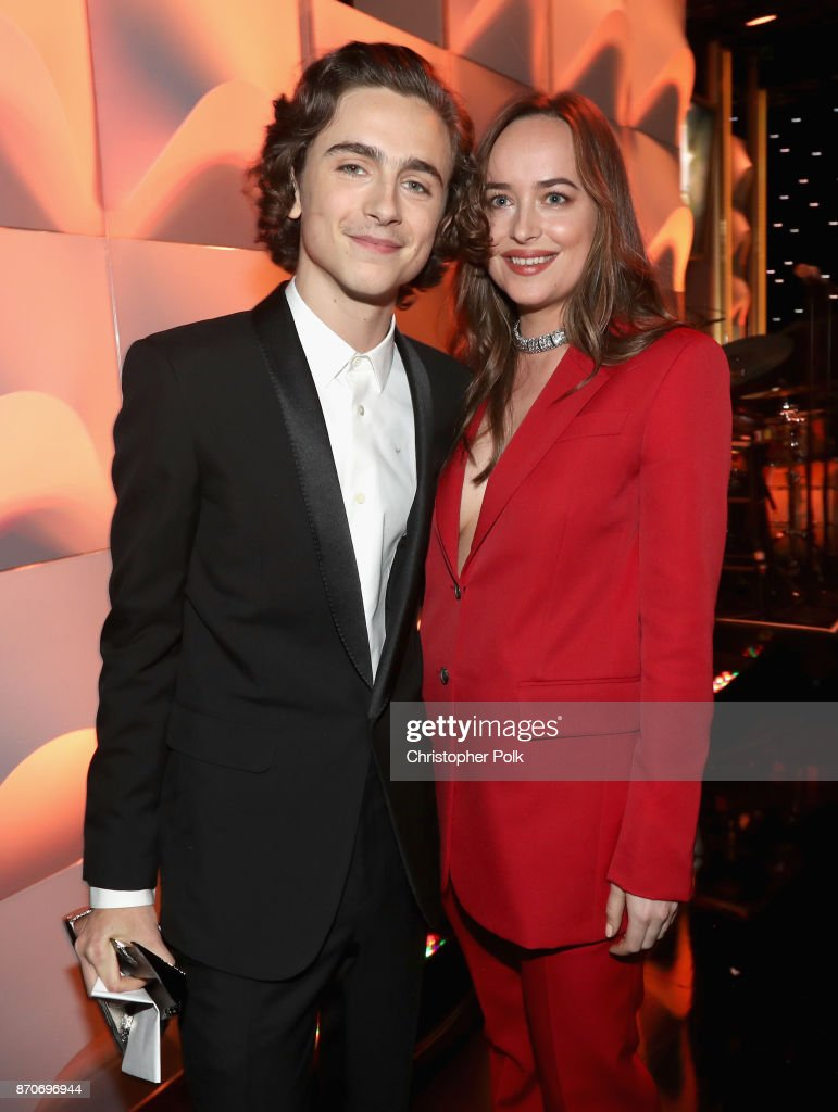 Honoree Timothee Chalamet (L), recipient of the Hollywood Breakout Performance Actor Award for 'Call Me by Your Name,' and actor Dakota Johnson attend the 21st Annual Hollywood Film Awards at The Beverly Hilton Hotel on November 5, 2017 in Beverly Hills, California.