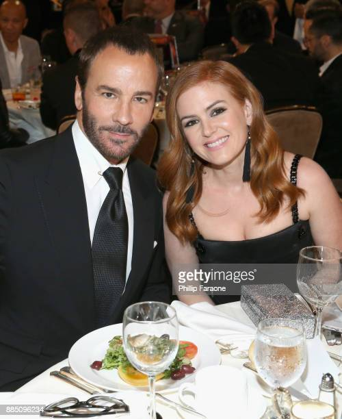 Honoree Tom Ford and Isla Fisher attend The Trevor Project's 2017 TrevorLIVE LA Gala at The Beverly Hilton Hotel on December 3 2017 in Beverly Hills...