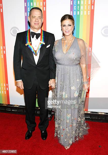 Honoree Tom Hanks and his wife Rita Wilson arrive at the 37th Annual Kennedy Center Honors at the John F Kennedy Center for the Performing Arts on...