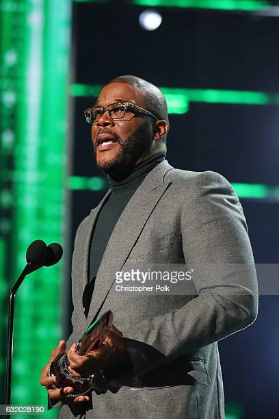 Honoree Tyler Perry accepts the Favorite Humanitarian Award onstage during the People's Choice Awards 2017 at Microsoft Theater on January 18 2017 in...