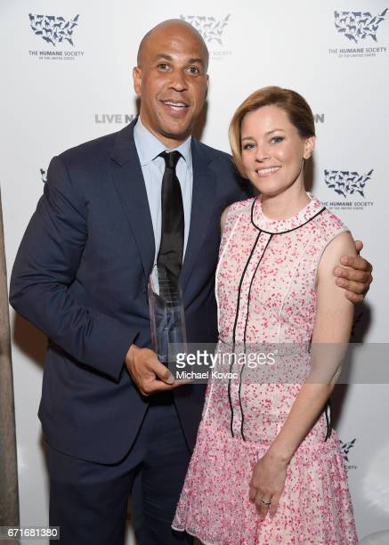 Honoree United States Senator Cory Booker recipient of the Humanitarian of the Year award and actor Elizabeth Banks at The Humane Society of the...