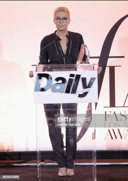 Honoree Yolanda Hadid accepts the Mother of the Year award onstage during the Daily Front Row's 3rd Annual Fashion Los Angeles Awards at Sunset Tower...