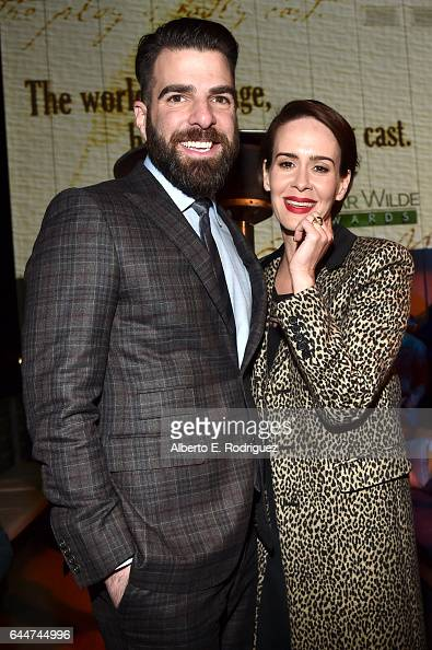 Honoree Zachary Quinto and actress Sarah Paulson attend the 12th Annual USIreland Aliiance's Oscar Wilde Awards event at Bad Robot on February 23...