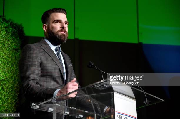 Honoree Zachary Quinto speaks onstage during the 12th Annual USIreland Aliiance's Oscar Wilde Awards event at Bad Robot on February 23 2017 in Santa...