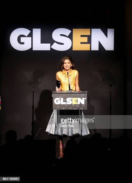 Honoree Zendaya accepts the Gamechanger Award onstage during the 2017 GLSEN Respect Awards at the Beverly Wilshire Hotel on October 20 2017 in Los...