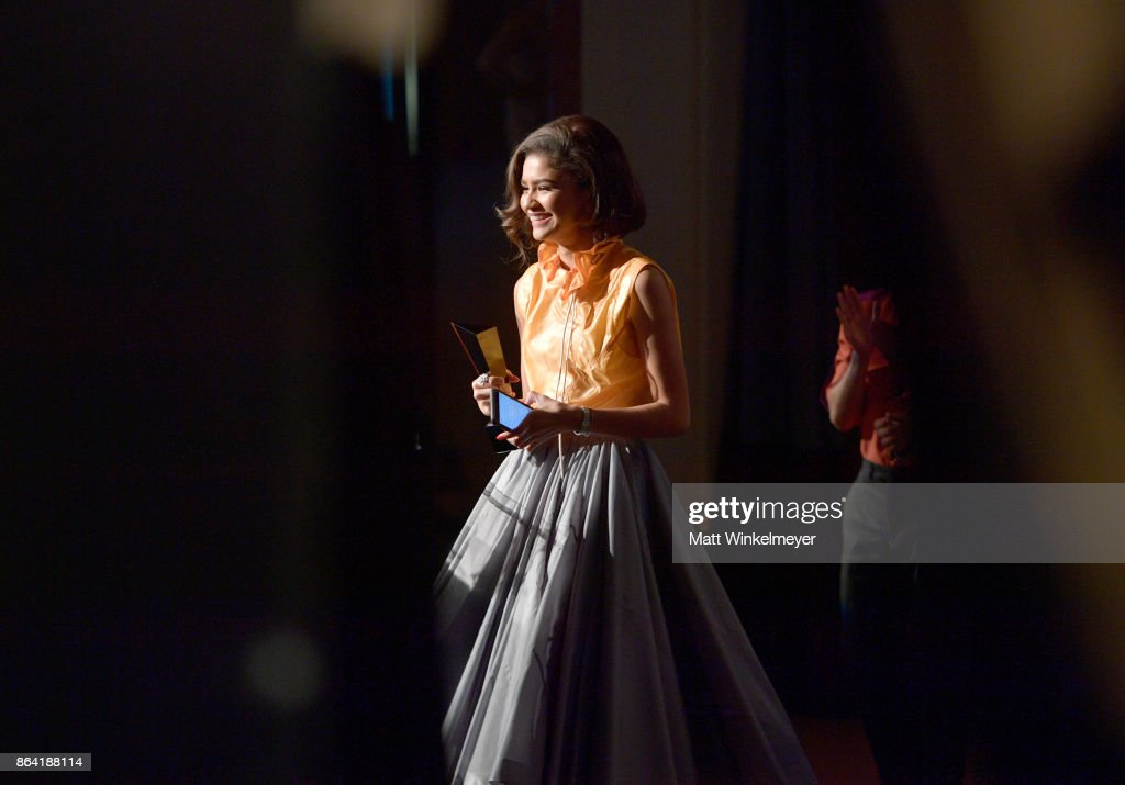 Honoree Zendaya accepts the Gamechanger Award onstage during the 2017 GLSEN Respect Awards at the Beverly Wilshire Hotel on October 20, 2017 in Los Angeles, California.