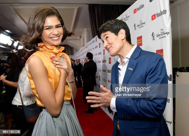 Honoree Zendaya and Executive Director GLSEN Eliza Byard at the 2017 GLSEN Respect Awards at the Beverly Wilshire Hotel on October 20 2017 in Los...