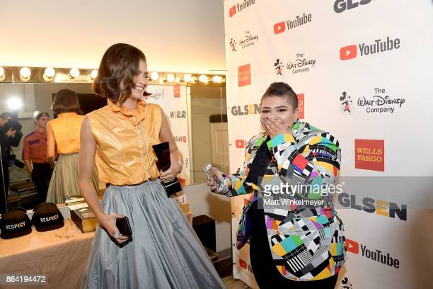 Honoree Zendaya and GLSEN's National Student Council member Marisa Matias at the 2017 GLSEN Respect Awards at the Beverly Wilshire Hotel on October...