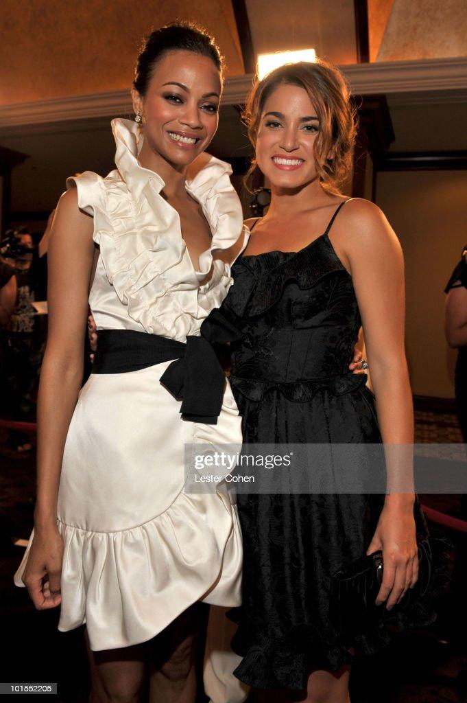 Honoree Zoe Saldana and actress Nikki Reed arrive at the 2010 Crystal + Lucy Awards: A New Era at Hyatt Regency Century Plaza on June 1, 2010 in Century City, California.