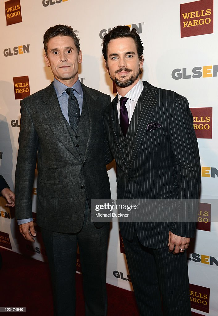 Honoree-2012 Inspiration Award Simon Halls and actor <a gi-track='captionPersonalityLinkClicked' href=/galleries/search?phrase=Matt+Bomer&family=editorial&specificpeople=2960058 ng-click='$event.stopPropagation()'>Matt Bomer</a> arrive at the 8th Annual GLSEN Respect Awards held at Beverly Hills Hotel on October 5, 2012 in Beverly Hills, California.