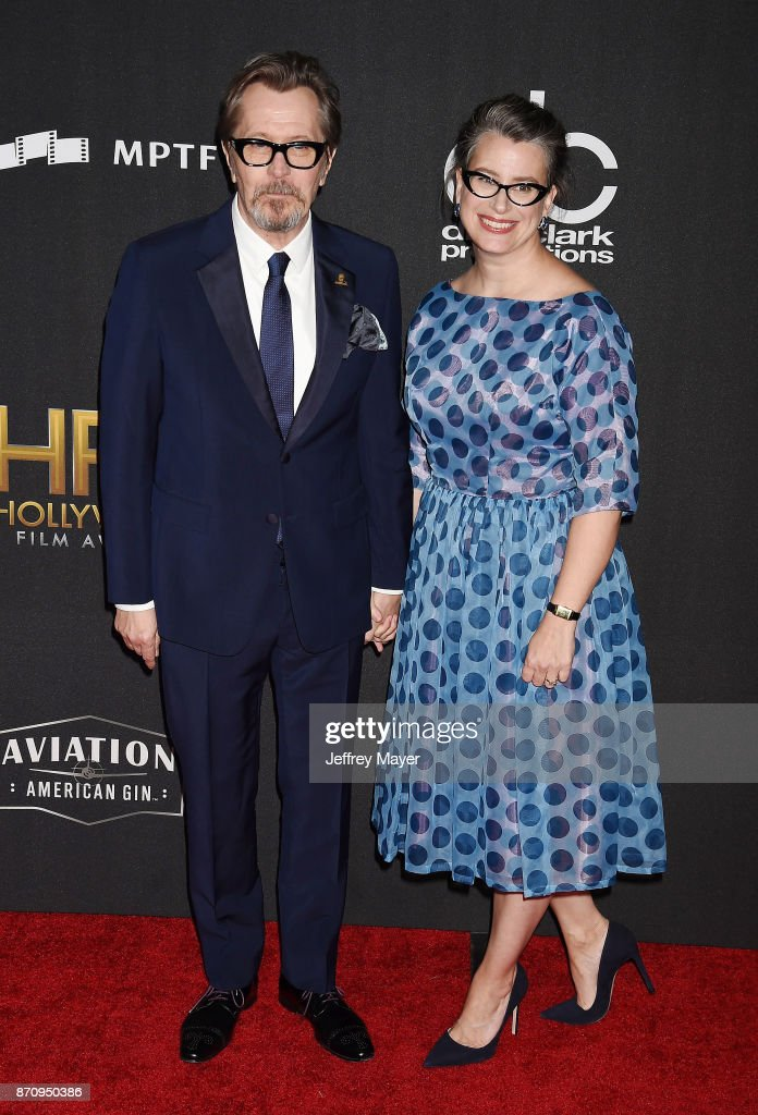 Honoree/actor Gary Oldman (L) and Gisele Schmidt attend the 21st Annual Hollywood Film Awards at The Beverly Hilton Hotel on November 5, 2017 in Beverly Hills, California.