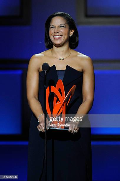 Honoree/American foreign policy advisor Susan Rice speaks onstage at the The 2009 Women of the Year hosted by Glamour Magazine at Carnegie Hall on...