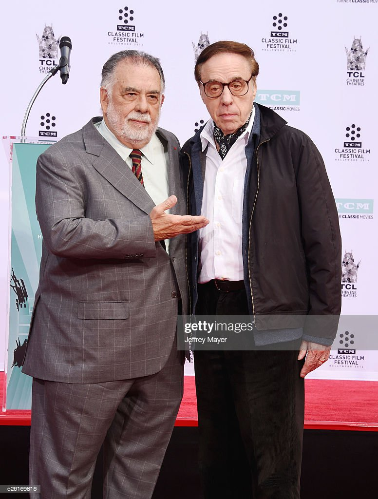 Honoree/director Francis Ford Coppola (L) and writer/director Peter Bogdanovich attend his Hand and Footprint Ceremony at TCL Chinese Theatre IMAX on April 29, 2016 in Hollywood, California.