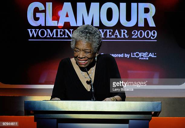 Honoree/Dr Maya Angelou speaks onstage at the The 2009 Women of the Year hosted by Glamour Magazine at Carnegie Hall on November 9 2009 in New York...