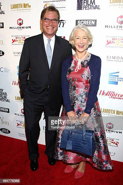 Honorees Aaron Sorkin and Helen Mirren attend the 29th Israel Film Festival opening night gala in Los Angeles held at the Saban Theatre on October 28...