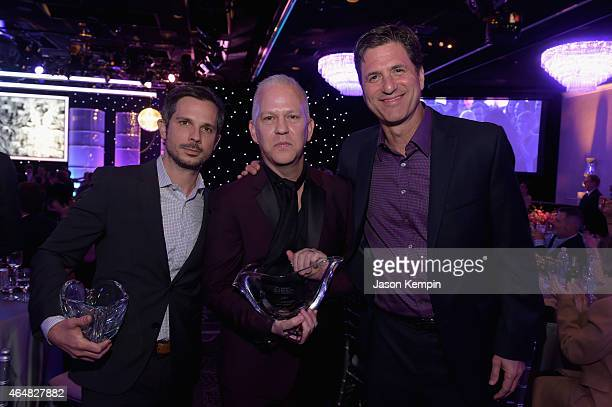 Honorees Abraham Higginbotham Ryan Murphy and Steven Levitan attend the Family Equality Council's 2015 Los Angeles Awards dinner at The Beverly...
