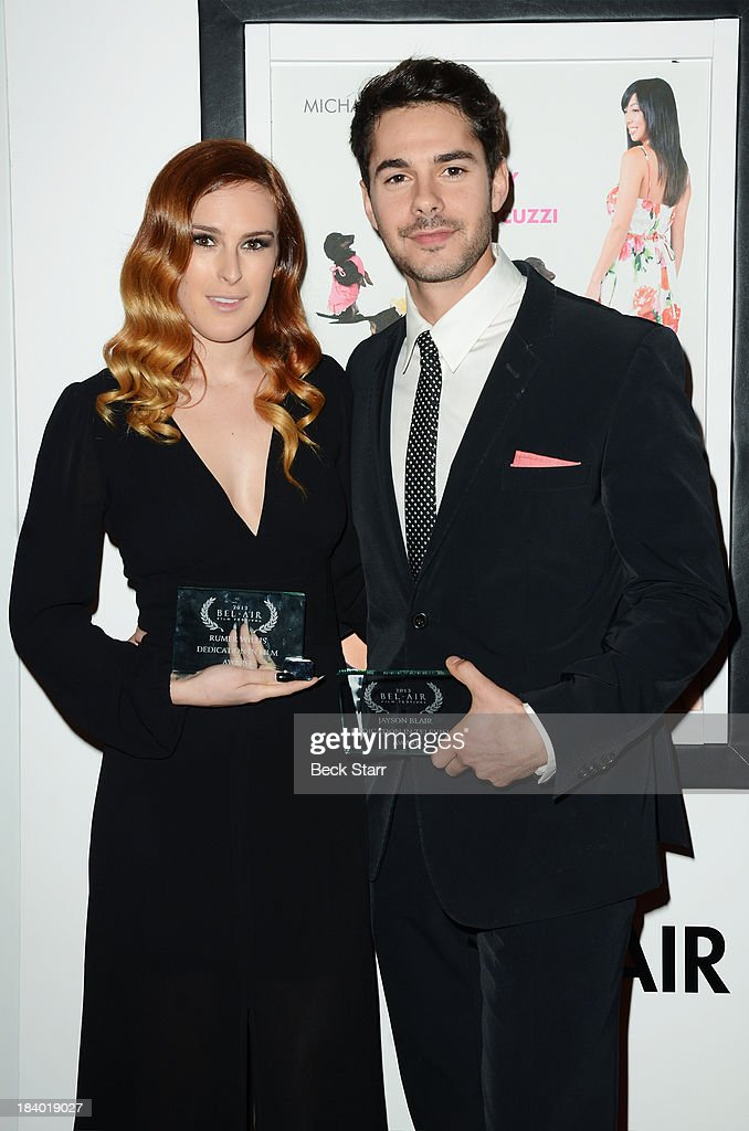 Honorees (L) Actress Rumer Willis and actor Jayson Blair arrive at the 2013 Bel-Air Film Festival Red Carpet Gala at Hammer Museum on October 10, 2013 in Westwood, California.