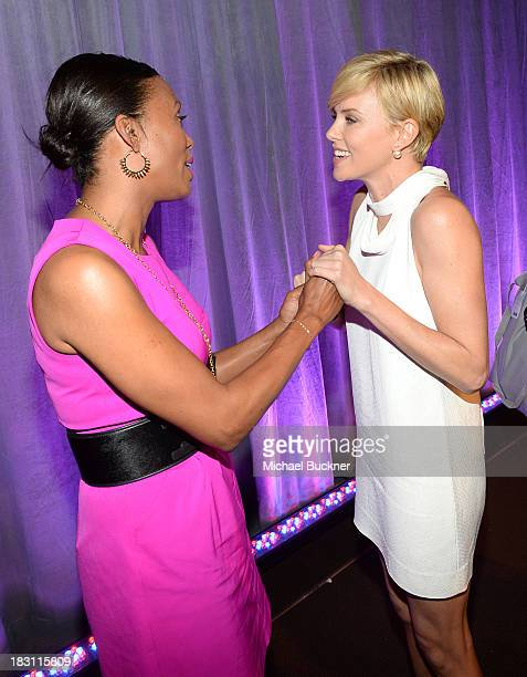 Honorees Aisha Tyler and Charlize Theron attend Variety's 5th Annual Power of Women event presented by Lifetime at the Beverly Wilshire Four Seasons...