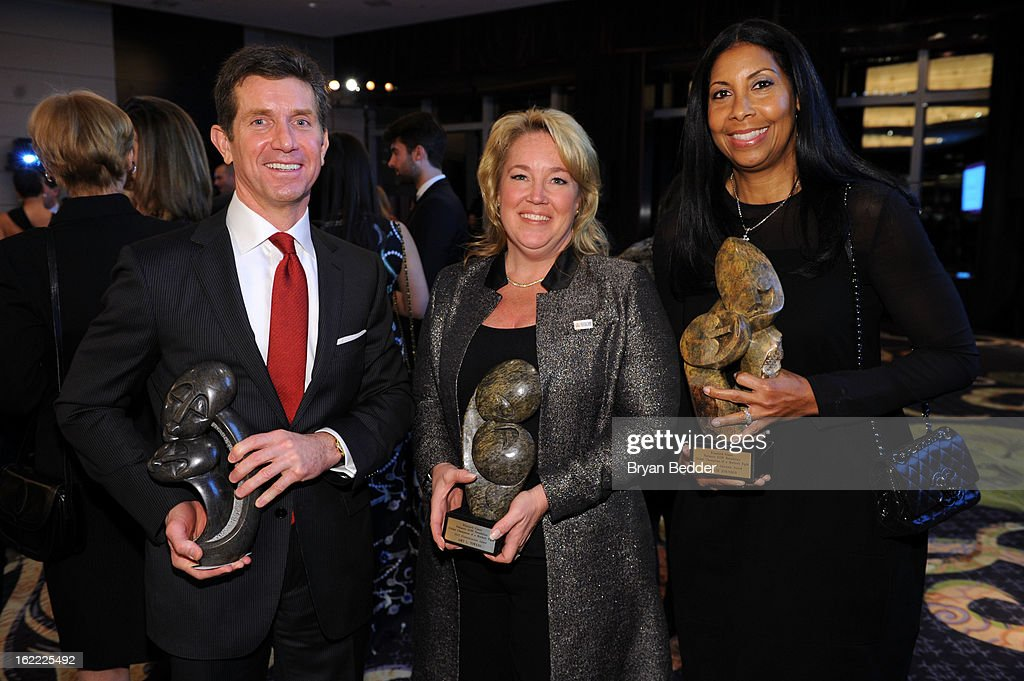 Honorees Alex Gorsky, Amy Towers and <a gi-track='captionPersonalityLinkClicked' href=/galleries/search?phrase=Cookie+Johnson&family=editorial&specificpeople=846852 ng-click='$event.stopPropagation()'>Cookie Johnson</a> attend the Elizabeth Glaser Global Champions of a Mothers Fight Awards Dinner at Mandarin Oriental Hotel on February 20, 2013 in New York City.