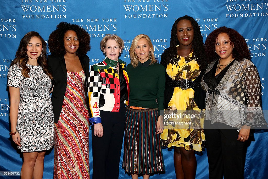 Honorees Amanda Matos, Gloria Malone, Elizabeth Sackler, Tory Burch, Cherno Biko and Joanne Smith attend The New York Women's Foundation's 2016 celebration womens breakfast on May 5, 2016 in New York City.