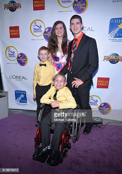 Honorees and brothers Hunter Gandee and Braden Gandee and family attend Shane's Inspiration's 15th Annual Gala at The Globe Theatre on March 5 2016...