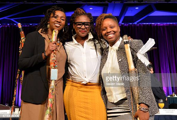 CWB honorees and cofounders of #BlackLivesMatter Opal Tometi Alicia Garza and Patrisse Cullors appear onstage during The New York Women's Foundation...