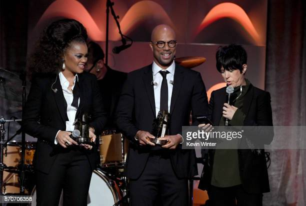 Honorees Andra Day Common and Diane Warren accept the Hollywood Song Award for 'Stand Up for Something' from the 'Marshall' soundtrack onstage during...