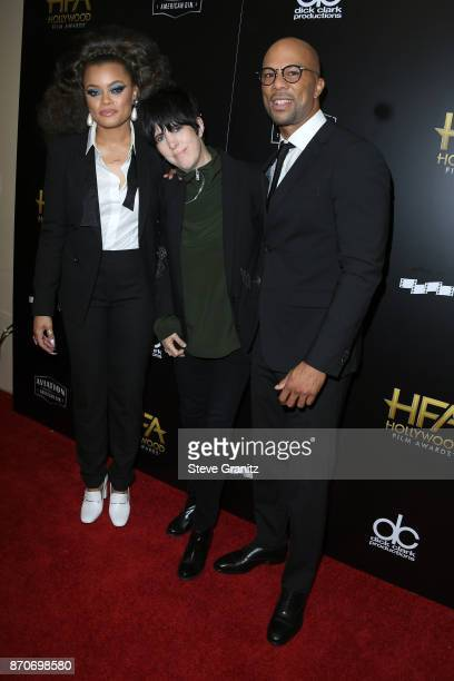 Honorees Andra Day Diane Warren and Common recipients of the Hollywood Song Award for 'Stand Up for Something' from the 'Marshall' soundtrack pose in...