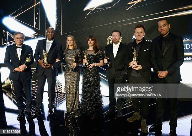 Honorees Ang Lee Samuel L Jackson Jodie Foster Felicity Jones Ricky Gervais and Ewan McGregor and host Ben 'Doc Brown' Smith pose onstage during the...