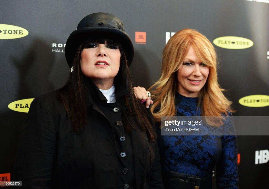Honorees Ann Wilson and Nancy Wilson of Heart arrive at the 28th Annual Rock and Roll Hall of Fame Induction Ceremony at Nokia Theatre L.A. Live on April 18, 2013 in Los Angeles, California.