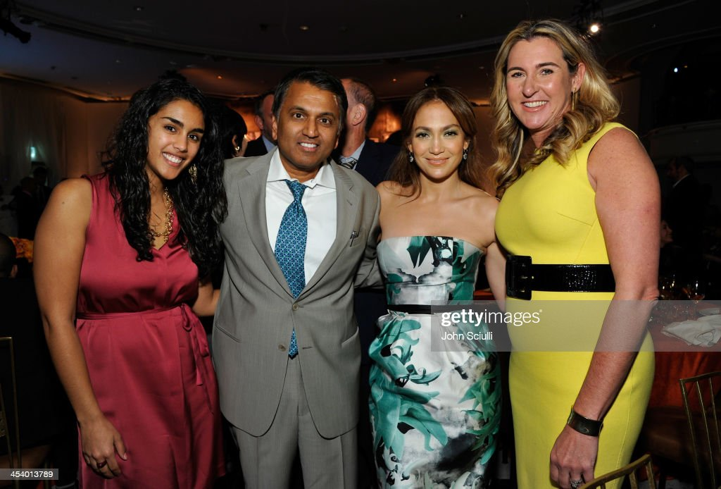 Honorees Balaji Govindaswami, M.D. (2nd from L) and Nancy Dubuc (R), actress/singer <a gi-track='captionPersonalityLinkClicked' href=/galleries/search?phrase=Jennifer+Lopez&family=editorial&specificpeople=201784 ng-click='$event.stopPropagation()'>Jennifer Lopez</a> (2nd from R) and guest attend the March of Dimes Celebration of Babies Luncheon at Beverly Hills Hotel on December 6, 2013 in Beverly Hills, California.