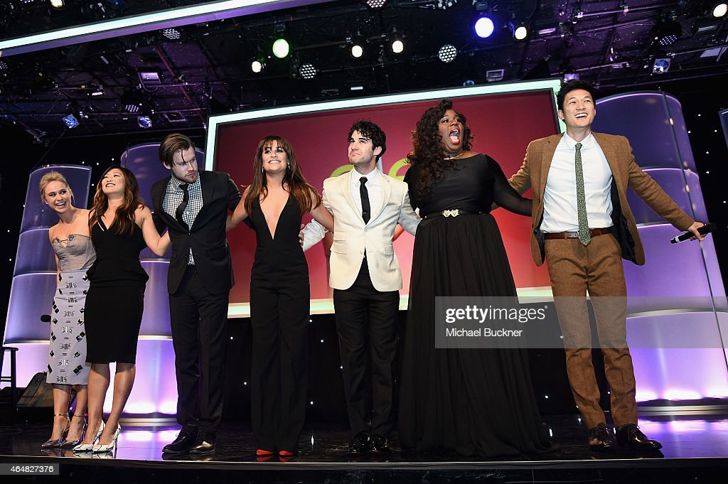Honorees Becca Tobin Jenna Ushkowitz Chord Overstreet Lea Michele Darren Criss Alex Newell and Harry Shum Jr onstage during the Family Equality...
