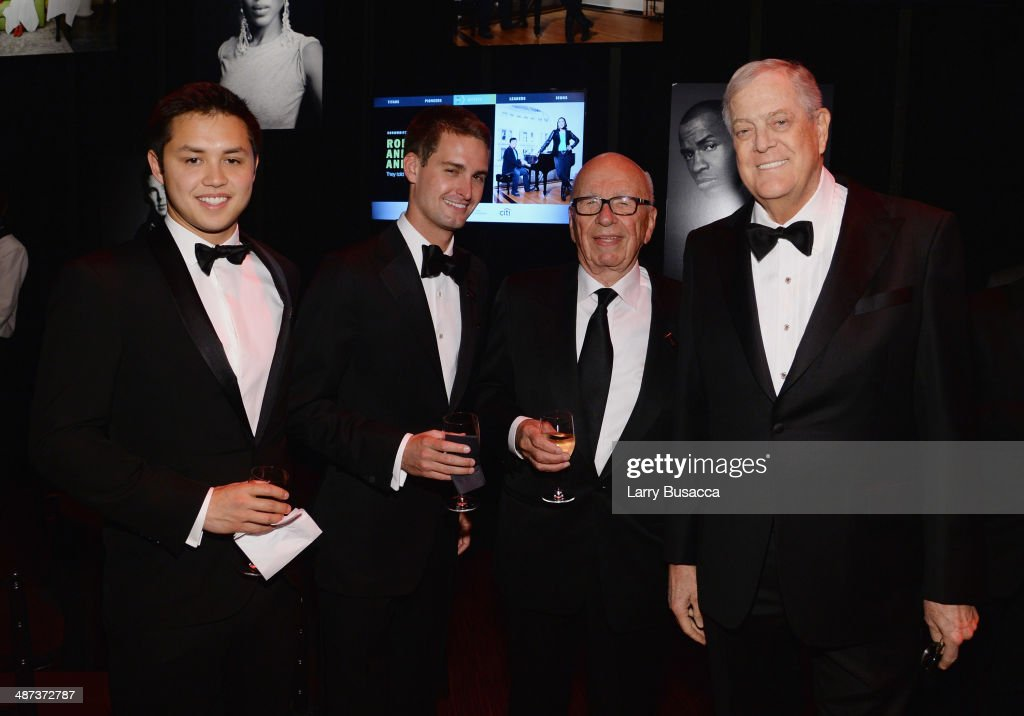Honorees Bobby Murphy and Evan Spiegel, Rupert Murdoch, and honoree David H. Koch attend the TIME 100 Gala, TIME's 100 most influential people in the world, at Jazz at Lincoln Center on April 29, 2014 in New York City.