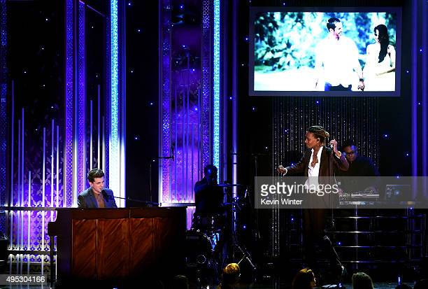 "Honorees Charlie Puth and Wiz Khalifa corecipients of the Hollywood Song Award for ""See You Again"" from the 'Furious 7' soundtrack perform onstage..."